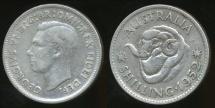 World Coins - Australia, 1952 One Shilling, 1/-, George VI (Silver) - Very Fine