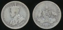 World Coins - Australia, 1917(m) Florin, 2/-, George V (Silver) - Good/Poor