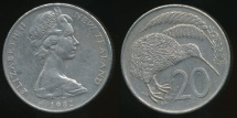 World Coins - New Zealand, 1982 Twenty Cents, 20c, Elizabeth II - Very Fine
