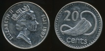 Fiji, Republic, 1997 20 Cents, Elizabeth II - Extra Fine
