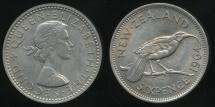 World Coins - New Zealand, 1964 Sixpence, 6d, Elizabeth II - Uncirculated