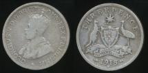 World Coins - Australia, 1918(m) Threepence, 3d, George V (Silver) - Good