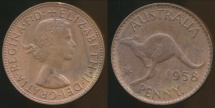 World Coins - Australia, 1958(p) One Penny, 1d, Elizabeth II - almost Uncirculated