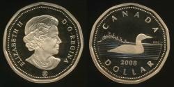 World Coins - Canada, Confederation, 2008 One Dollar, $1, Elizabeth II - Proof