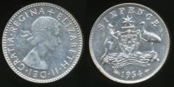 World Coins - Australia, 1954 Sixpence, 6d, Elizabeth II (Silver) - Uncirculated