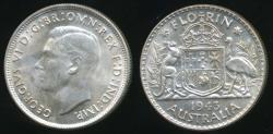 World Coins - Australia, 1943(m) Florin, 2/-, George VI (Silver) - Choice Uncirculated