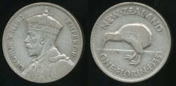World Coins - New Zealand, 1933 Florin, 2/-, George V (Silver) - Very Fine