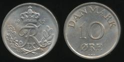 World Coins - Denmark, Kingdom, Frederik IX, 1952 10 Ore - Uncirculated