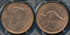 World Coins - Australia, 1952(m) One Penny, 1d, George VI - PCGS MS64RB (Ch-Unc)