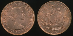 World Coins - Great Britain, Kingdom, 1967 Halfpenny, 1/2d, Elizabeth II - Choice Uncirculated