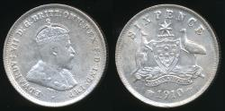 World Coins - Australia, 1910 Sixpence, 6d, Edward VII (Silver) - aUncirculated/Uncirculated