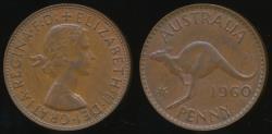 World Coins - Australia, 1960(p) One Penny, 1d, Elizabeth II - Very Fine