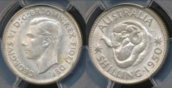 World Coins - Australia, 1950(m) One Shilling, 1/-, George VI (Silver) - PCGS MS63 (Ch-Unc)