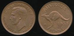 World Coins - Australia, 1938 One Penny, 1d, George VI - Choice Uncirculated
