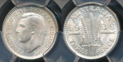 World Coins - Australia, 1939(m) Threepence, 3d, George VI (Silver) - PCGS MS64 (Ch-Unc)