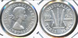 World Coins - Australia, 1963(m) Threepence, 3d, Elizabeth II (Silver) - Choice Uncirculated