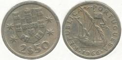 World Coins - PORTUGAL - 1966, 2-1/2 Escudos, KM# 590
