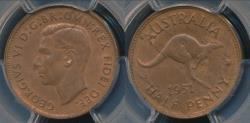 World Coins - Australia, 1951(p) Halfpenny, 1/2d, George VI - PCGS MS63+RB (Ch-Unc)