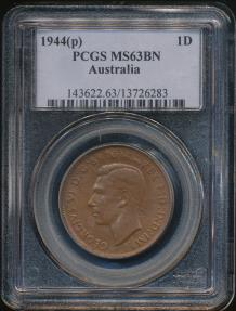 World Coins - Australia, 1944(P) One Penny, 1d, George VI - PCGS MS63BN (Ch-Unc)