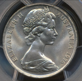 World Coins - Australia, 1976 Twenty Cents, 20c, Elizabeth II - PCGS MS64