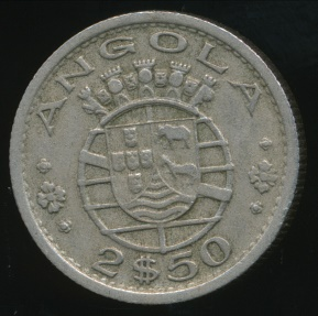 World Coins - Angola, Portuguese Colony, 1953 2-1/2 Escudos - Very Fine
