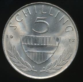 World Coins - Austria, Republic, 1972 5 Schilling - Uncirculated