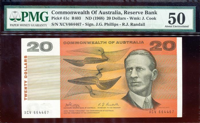 World Coins - Australia - $20 Phillips-Randall, (1968) R403 - PMG 50