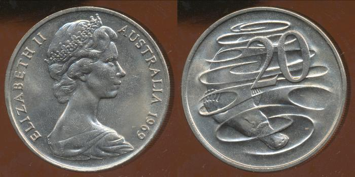 World Coins - Australia, 1969 Canberra 20 Cent, Elizabeth II - Uncirculated