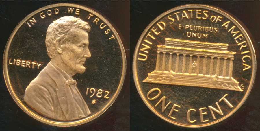 World Coins - United States, 1982-S One Cent, Lincoln Memorial - Proof