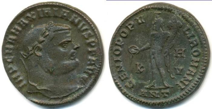 Ancient Coins - MAXIMIANUS, AE-Follis, AD 286-305, Antioch mint, (26mm, 8.77 g) - RIC.54b