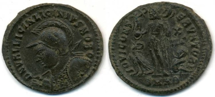 Ancient Coins - LICINIUS II, AE-Reduced Follis, AD 317-324, Heraclea mint, Struck 321-324 AD, (20mm, 3.16 gm) - RIC 54