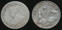 World Coins - Australia, 1925 Threepence, 3d, George V (Silver) - Good