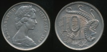 World Coins - Australia, 1968 Ten Cents, 10c, Elizabeth II - Uncirculated
