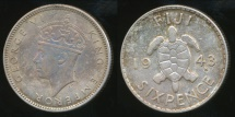 Fiji, Republic British Administration, 1943(s) Sixpence, George VI (Silver) - Extra Fine