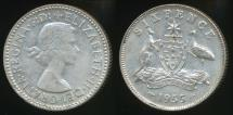 World Coins - Australia, 1955 Sixpence, 6d, Elizabeth II (Silver) - Extra Fine