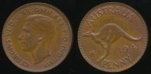 World Coins - Australia, 1941(m) One Penny, 1d, George VI - Extra Fine