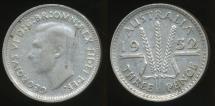 World Coins - Australia, 1952 Threepence, 3d, George VI (Silver) - Fine
