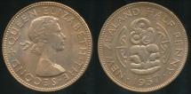 World Coins - New Zealand, 1957 Halfpenny, Elizabeth II - Uncirculated