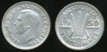 World Coins - Australia, 1950 Threepence, 3d, George VI (Silver) - Very Fine/Extra Fine