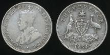 World Coins - Australia, 1934 Threepence, 3d, George V (Silver) - Very Good/Fine