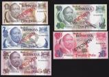 World Coins - Botswana, 1979 Set of 5 Specimen Banknotes (1, 2, 5, 10, 20 Pula) - Uncirculated