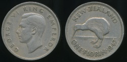 World Coins - New Zealand, 1947 Florin, 2/-, George VI - good Fine