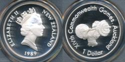 World Coins - New Zealand, 1989 One Dollar $1 Weight Lifter (Silver) - PCGS PR69DCAM (Proof)