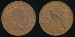 World Coins - New Zealand, 1963 One Penny, 1d, Elizabeth II - Extra Fine