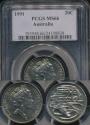 World Coins - Australia, 1991 Twenty Cents, 20c, Elizabeth II - PCGS MS66