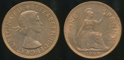 World Coins - Great Britain, Kingdom, 1964 One Penny, Elizabeth II - Uncirculated