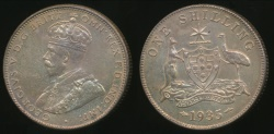 World Coins - Australia, 1935 One Shilling, George V (Silver) - almost Uncirculated