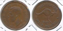 World Coins - Australia, 1945(p) Halfpenny, 1/2d, George VI (Without dot) - Very Fine