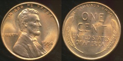 World Coins - United States, 1954-S One Cent, Lincoln Wheat - Choice Uncirculated