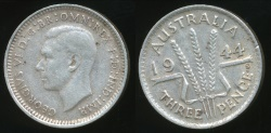 World Coins - Australia, 1944(s) Threepence, 3d, George VI (Silver) - Very Fine